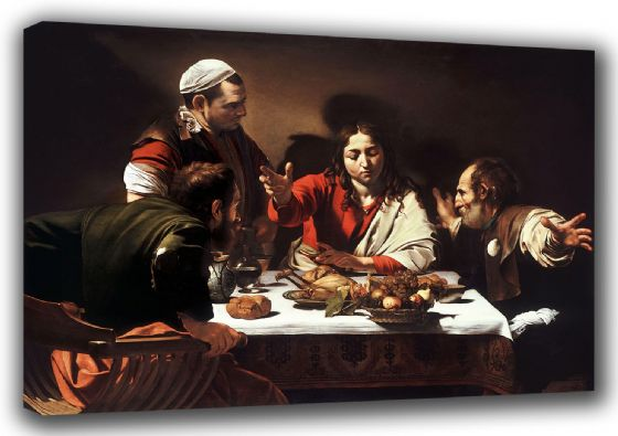 Caravaggio, Michelangelo Merisi da: The Supper at Emmaus. Fine Art Canvas. Sizes: A3/A2/A1 (0024)